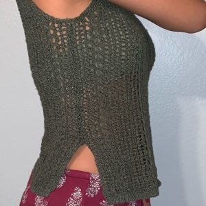 Knitted olive tank